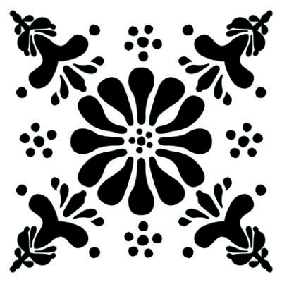 Virág - fekete- csempematrica- átlátszó