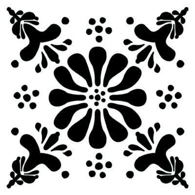 Virág - fekete- csempematrica- teljes fedés