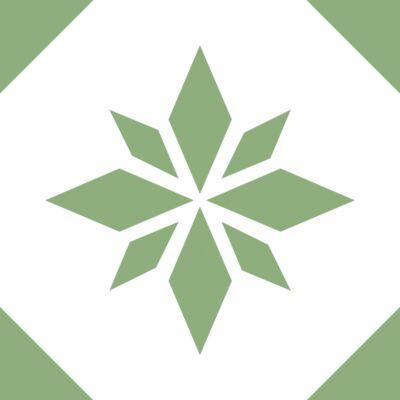 Zöld csillag - csempematrica - átlátszó