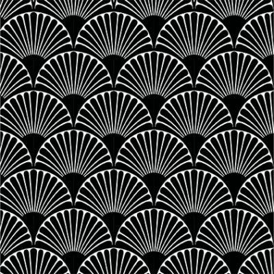 Art deco-bows- black- csempematrica - átlátszó