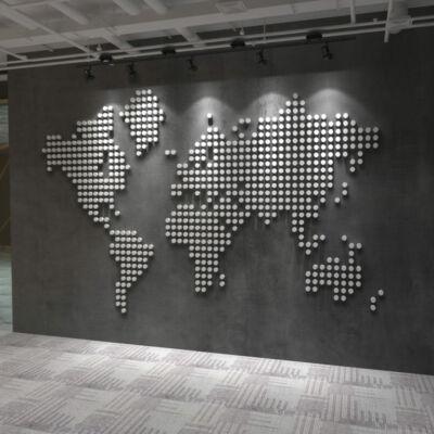 3D effekt világtérkép falmatrica