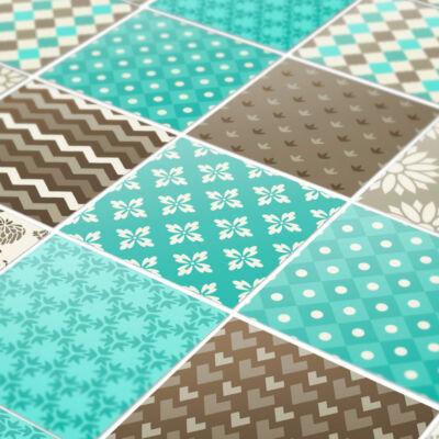 Kék-barna patchwork - padlómatrica