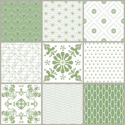 Zöld minta szett csempematrica