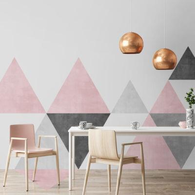 Szürke-rózsaszín háromszögek -falmatrica(/padlómatrica)