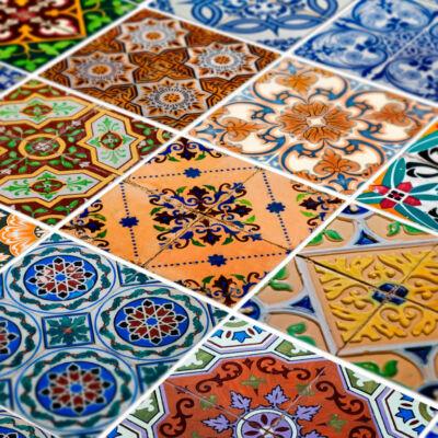 Portugál azulejo mintás szett  48 db csempematrica