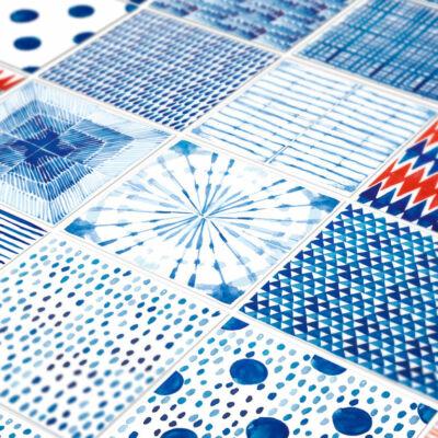 Shibori akvarell mintás szett  24 db csempematrica
