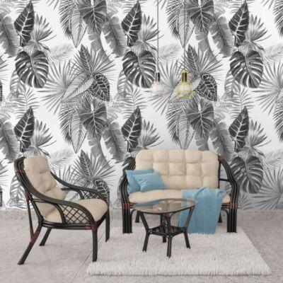 Fekete-fehér levelek - öntapadós tapéta