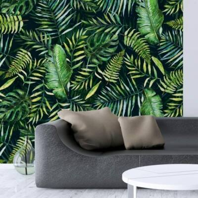 Trópusi levelek-fekete - öntapadós tapéta