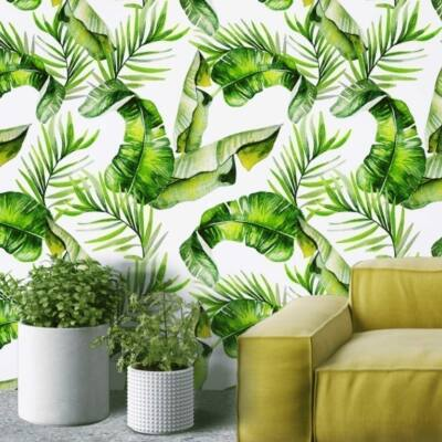 Trópusi levelek-fehér-vízfestmény - öntapadós tapéta